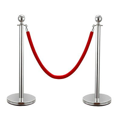 2PCS Silver Stainless Steel Stanchion Posts w/Red Velvet Rope