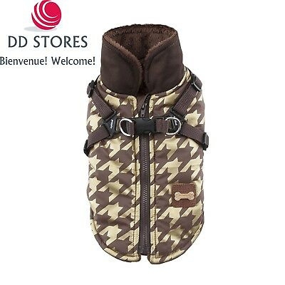 Puppia Dogstooth Manteau d'Hiver pour Chien Bruine Taille S