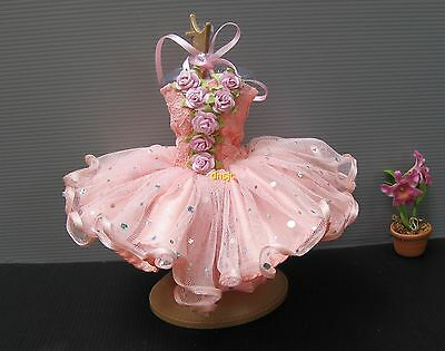 Ballerina Ballet Tutu Outfit Handmade Costumes for Barbie Doll Clothes, salmon