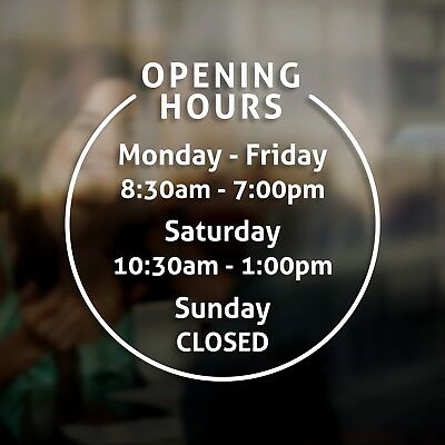 Personalised Custom Shop Opening Hours Times Door Window Sign Sticker Pub Office