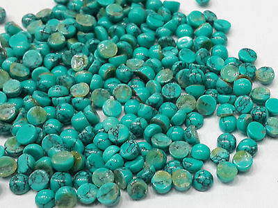 10cts Loose Turquoise 80pc Lot Cabochon 3mm Size Round Sky Blue Color Flat Base