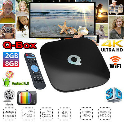 QBOX 4K UHD WIFI KD 17.3 Android 6.0 8GB 2GB Smart TV BOX Quad Core S905X