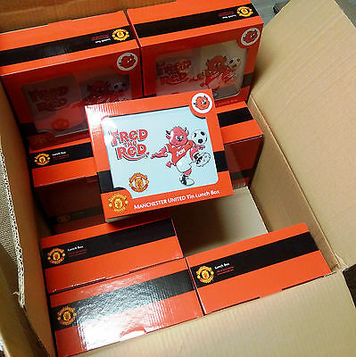 20 x Wholesale Joblot Manchester United Fred the Red White Metal Lunch Bag Box