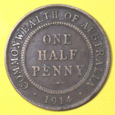 1914  RARE KGV HALF PENNY - VF?? Circulated Coin  - GREAT  INVESTMENT