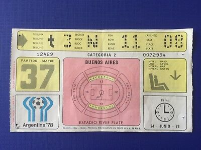 1978 FIFA World Cup.Third place. Brazil, 2 - Italy, 1. Ticket