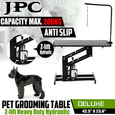 Adjustable Dog Cat Pet Grooming Table Z-lift Hydraulic with Antislip Power Arm