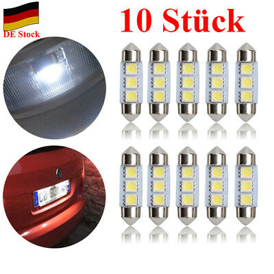 DE Stock 10pcs 12V 3 SMD 5050 LED Licht 36mm Sofitte Xenon Nummerschild