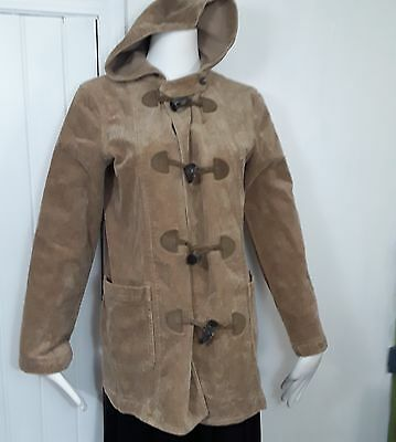 Lauren Jeans Company Brown Corduroy Leather Toggle Hooded Womens Coat Sz Small