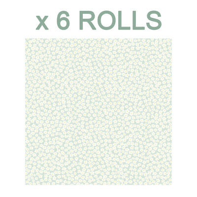 Mini Daisy Wallpaper Duck Egg Floral Petals Leaves Leaf Girly Holden Decor x 6