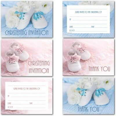Pack of 20 Christening Invitations Invites Cards Postcards & Baby Gift Thank You