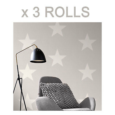 Grey White Star Wallpaper Stars Bold Kids Teenagers Bedroom Modern Print x 3