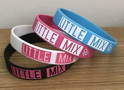 Pack Of 4 LITTLE MIX Silicone Wristbands In White, Pink, Blue and Black.
