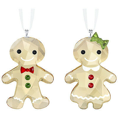 Swarovski Crystal Gingerbread Couple Ornament Set 5281766.new In Box