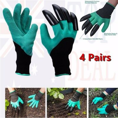 4 Pairs Garden Glove Gloves with Claws Waterproof Gardening Digging Planting