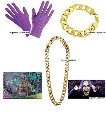 HALLOWEEN Joker Suicide Squad Batman Fancy Dress Gloves Gold Bracelet & Chain