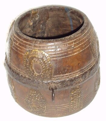 Indian Hand Carved Wooden Brass Fitted Wooden Grain Measurement Pot