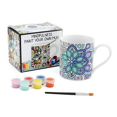 Mindfulness Paint Your Own Cup Mug Stress Relief Adult Kids Colouring Arts Craft