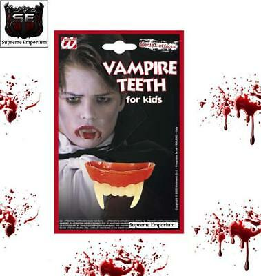 Vampire Dracula Fangs Teeth Fancy Dress Childrens Kids Halloween Set Widmann