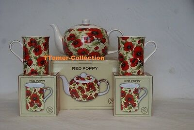 Poppy Tea Pot with Two Fine China Poppy Mugs By Leonardo Brand New in Box
