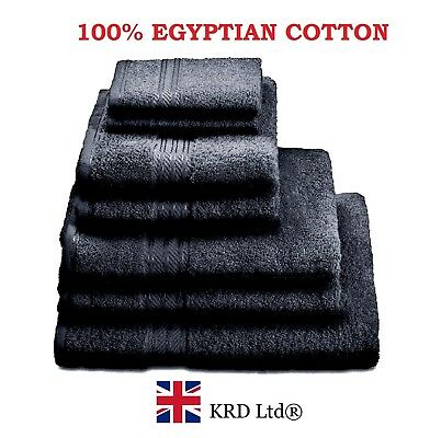 Genuine 100% Egyptian Cotton Face Cloth Guest Hand Towel Bath Sheet New UK BLACK