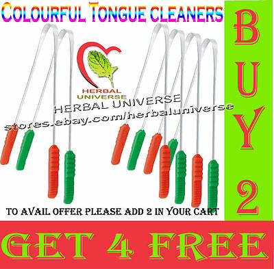 """""""BUY 2 GET 4 FREE"""" Steel Tongue Cleaner / Scraper Oral Care with Plastic Handle"""