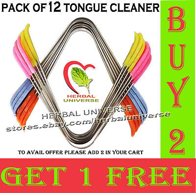 """""""BUY 2 GET 1 FREE"""" Pack of 12x Tongue Cleaner / Scraper  - High Quality UK"""