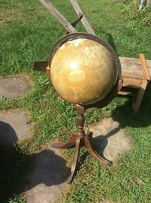 Antique 12 Inch Terrestrial Globe , Clawed Foot Stand , No. 2615, London Inst.