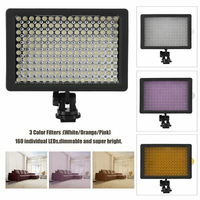 160LED Video Light Lamp Panel Dimmable for Canon Nikon DSLR Camera 3Color Filter
