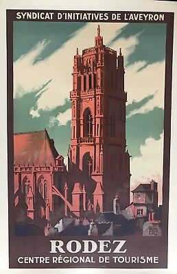 Original Vintage Travel Poster Rodez by Charles Hallo ca.1926