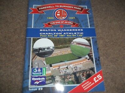 Bolton Wanderers V Charlton Athletic Last Match At Burnden Park 25Th April 1997