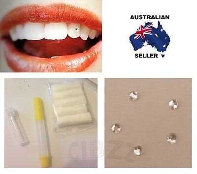 Tooth Gem Kit 5x Sparkling Rhinestones + Glue & Pads Set