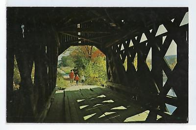 Walking Through A Covered Bridge in New England - Vintage Postcard