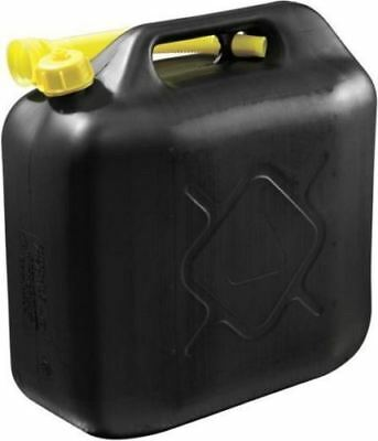 20L Black Plastic Fuel Jerry Can Petrol Diesel Water 20 Litre With Free Spout