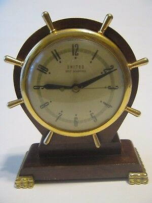 Vintage 1940s United Ship Nautical Wheel Electric Wood Mantle Clock