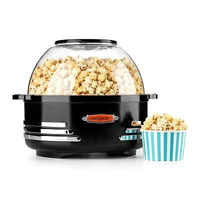 Electric Black Retro Popcorn Maker Bowl Lid Machine Kitchen Non Stick 5.2 L New