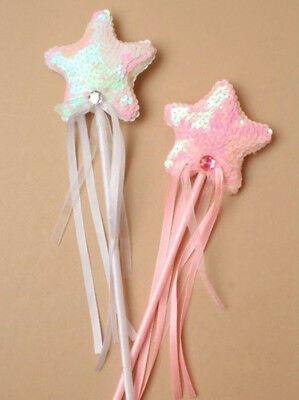 Sequin Star Wand Princess Fairy Ribbons Fancy Dress Flower Girls Pink or White