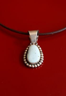 Dry Creek Turquoise Silver Pendant Necklace on leather choker