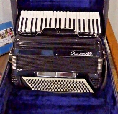 Vintage Italian Pancordion Cruicianelli B-1 #52409 Accordion 41/120 Black EXCELL
