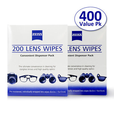 Zeiss 400 Pcs Pre-Moistened Lens Cloths Wipe Eye Glasses Computer Camera Cleaner