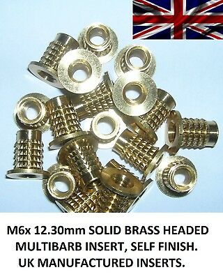 M6x 12.30mm Threaded Solid Brass Headed inserts, (10 UK Manufactured Inserts)