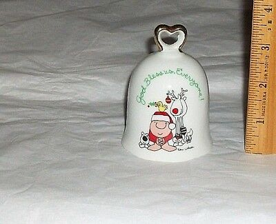 VTG 1978 ZIGGY Porcelain Christmas Bell GOD BLESS US, EVERYONE! Exc Cond