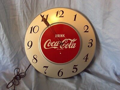 """Vintage """"DRINK COCA~COLA"""" CLOCK ~ Looks and Runs Great! ~ Made by G.E."""