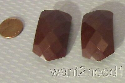 PAIR 30s vtg art deco FACETED CHOCOLATE BROWN BAKELITE DRESS SHOE CLIPS tested