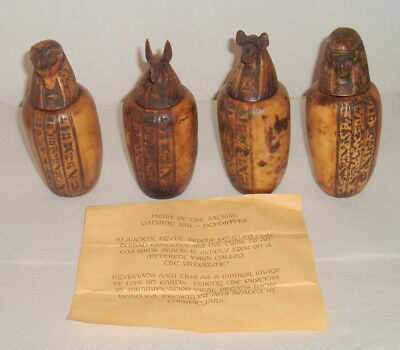 Set Of 4 Vintage Egyptian Sons Of Horus Canopic Jars Organ Storage Statues Egypt