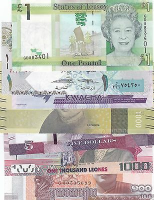 Excellent Lot Of 7 Different World Banknotes Uncirculated (D)