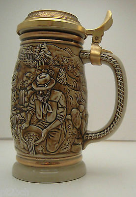 Ceramarte San Francisco 1987 Gold Rush Ceramic Stein with Goldtone Lid Man Cave