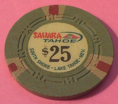 Vintage Sahara Tahoe ~ $25 Casino Chip ~ South Shore ~ Lake Tahoe, Nev. ~ 1970's