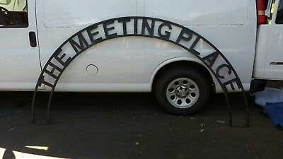 Large Vintage Sign Wrought Iron Architectural Garden Archway