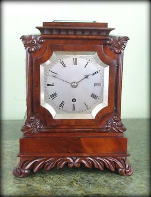 ENGLISH 5 GLASS FUSEE MANTLE BRACKET LIBRARY CLOCK - Small size