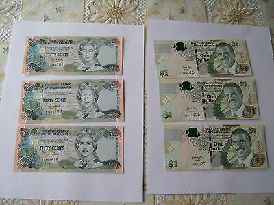 6 BAHAMAS NOTES UNC lot $1/2 and $1